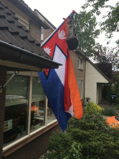 Flag and school bag netherlands tradition