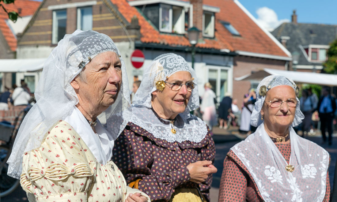 Traditional Dutch clothing in Urk Netherlands