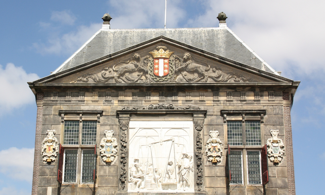"The facade of the cheese and craft museum in ""De Waag""  in Gouda"