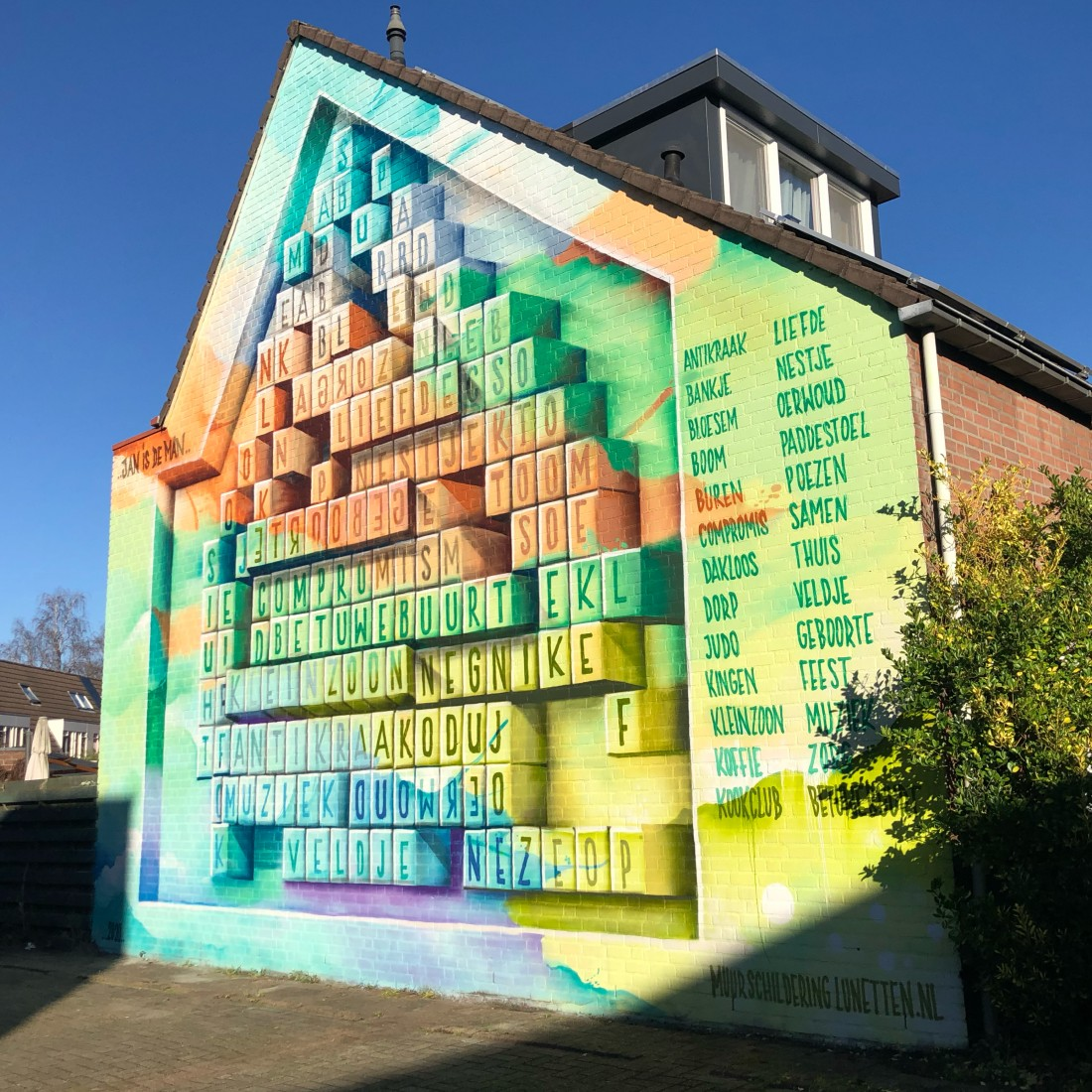 Lunetten wordsearch mural Utrecht