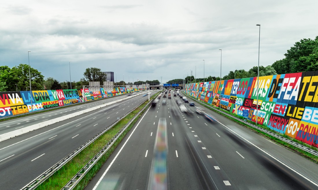 Eurovision mega-ribbon on the motorway rotterdam
