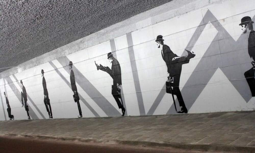 Huge new Monty Python 'Silly Walks' mural in Eindhoven
