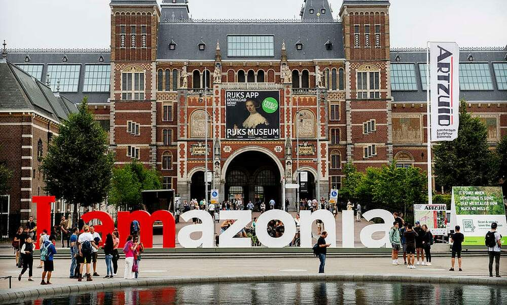 Iamsterdam sign was back on Museumplein to spell Iamazonia