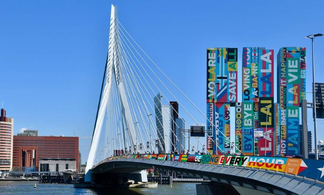 Rotterdam landmarks decorated with brightly coloured Eurovision song lyrics