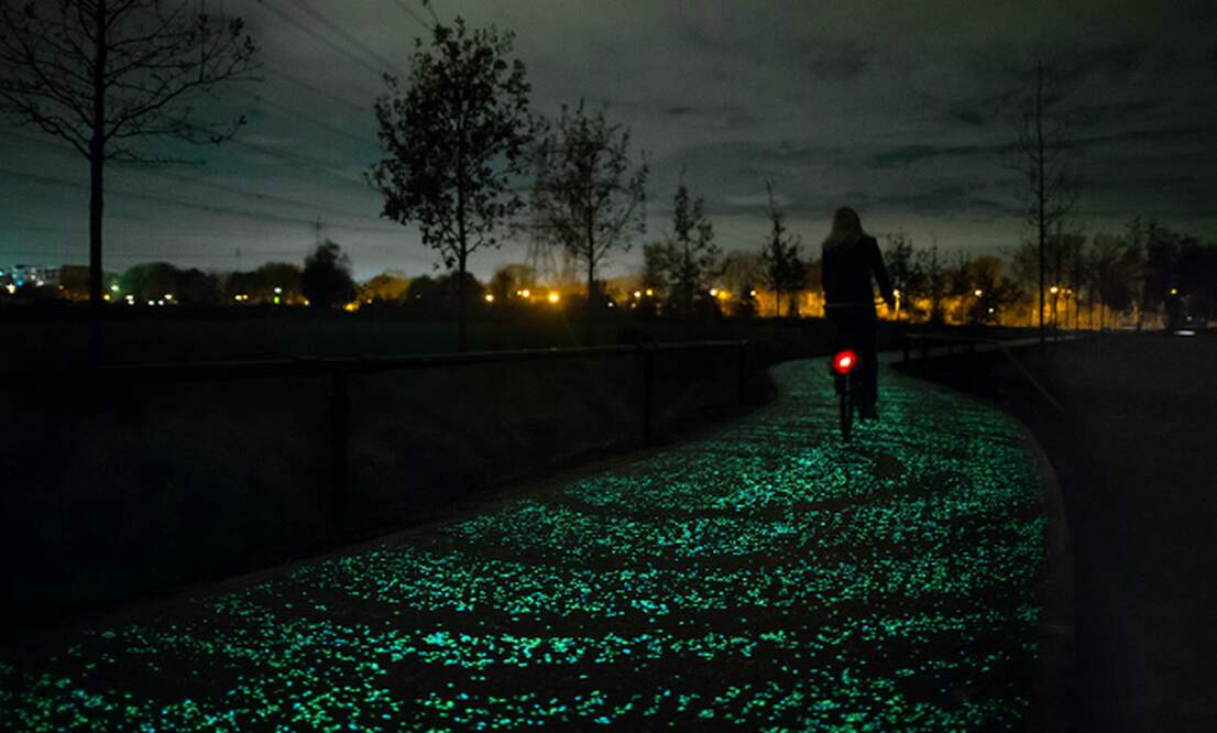 Glow-in-the-dark and solar bike paths: a glimpse of the future