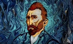 Van Gogh's Starry Night painted on water with ancient technique