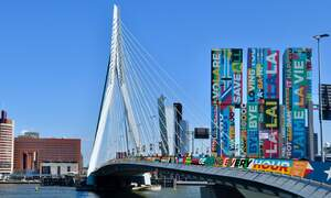 Rotterdam landmarks decorated with brightly coloured Eurovision song lyrics