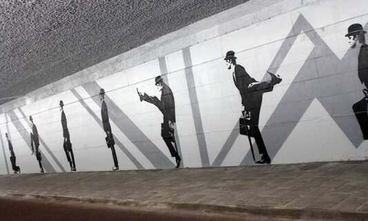 Huge new Monty Python 'Silly Walks' mural in Eindhoven