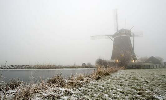 Very late: The first moderate frost this winter in the Netherlands