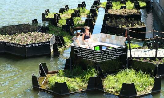 Rotterdam floating park made from recycled plastic waste